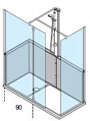 Walk in shower bath replacement package with half height wall panels