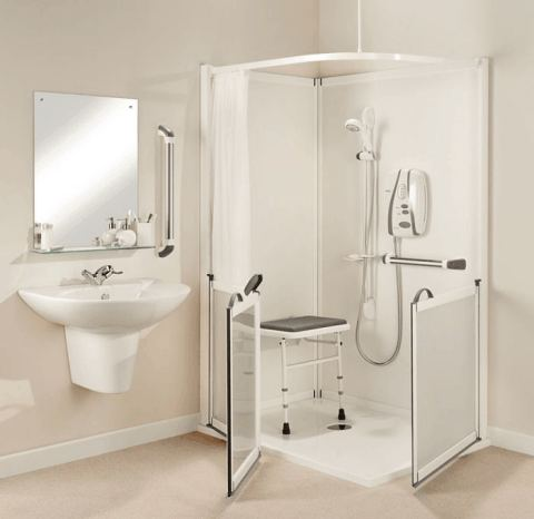 Impey IMPRESS easy access corner shower enclosure with half height doors & Impress low access disabled shower cubicle ideal for a wheelchair