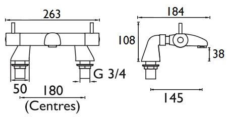 Artisan Lever Bath Mixer diagram