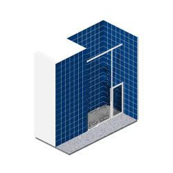 Doorless alcove shower partially enclosed by half height single fixed panel