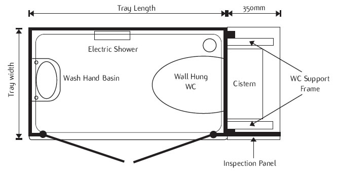 Waste from the shower toilet can be plumbed into existing 100mm soil ...